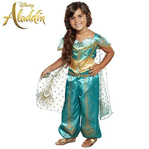 Disfraz de Jasmine de Aladdin de Disney, traje de pavo real verde ...