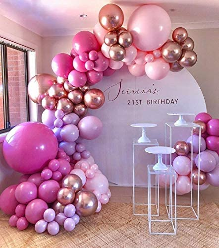 GIHOO Hot Pink Balloon Garland Arch Kit 140Pcs Pink Rose Gold Chrome Balloons for Birthday Wedding product image