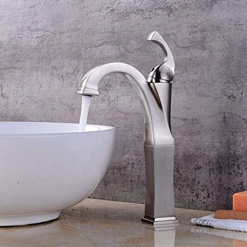 DJY-JY Grifo mezclador de lavabo para lavabo cepillado agua caliente y fría cerámica solo agujero sola palanca baño lavabo grifo de la cocina