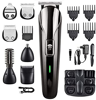 All in One Beard Trimmer Hair Clipper Multifunctional Rechargeable Grooming Kit Heads Razor Nose Ear Trimmer Eyebrow Sharpeners Skin-Friendly Blads,Fast Charging Long Lasting (Black) by Deewoo