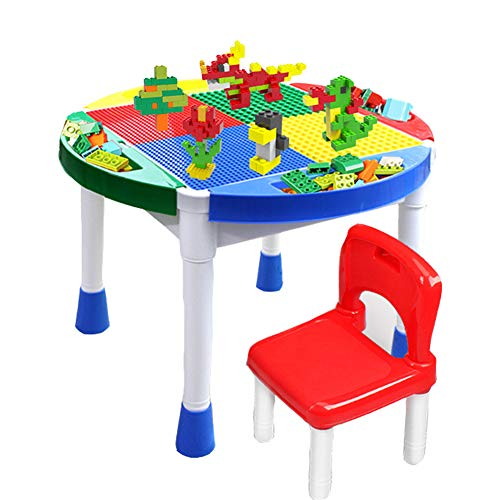 Children's Furniture 6-in-1 Multi-Purpose Building Block Table, Activity Table with 1 Chairs, Toy Storage Table Gift for Kids, for Writing Dining and Playing Games