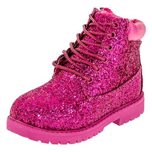 Fashionteam24 Gefütterte warme Classic Boots für Mädchen mit Glitzer in vielen Farben M467pi Pink...