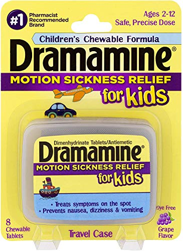 Dramamine Motion Sickness Relief for Kids, Grape Flavor,8 Count (Pack of 2)