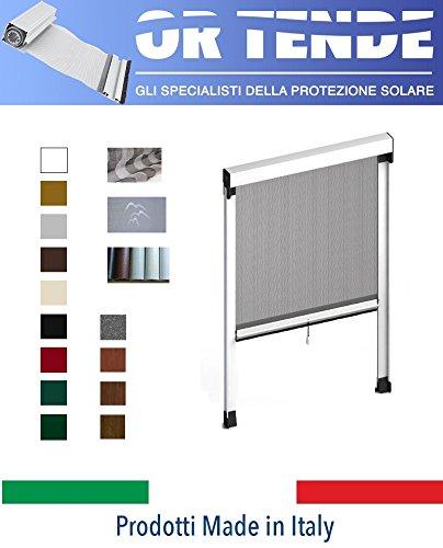 ORTENDE - Zanzariera Verticale in Alluminio a Molla con Bottoncini Antivento per Finestre, Produzione su Misura, Non Kit Cinesi di pessima QUALITA'.