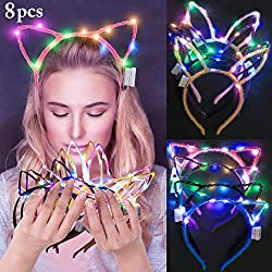 25%OFF LED Bunny Ear Headband, Fascigirl 8 PCS Light Up Rabbit Ears Cat Ear Headband
