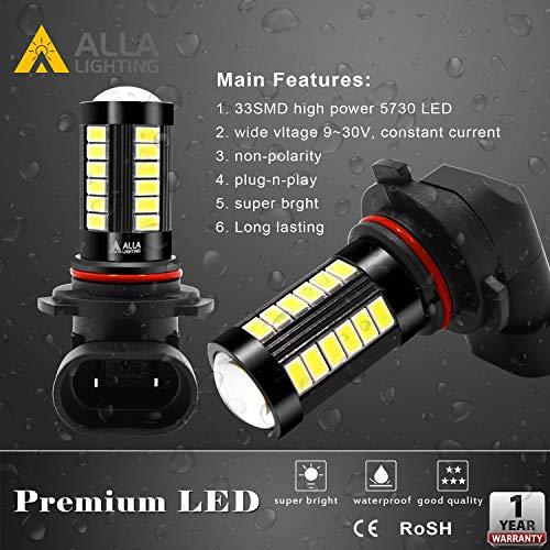 Alla Lighting 9145 H10 LED Fog Light Bulbs 2800 Lumens Xtremely Super Bright 9140 9   045 9155 9040 5730 33-SMD 12V PY20D Fog Lights Replacement for Cars, Trucks, 6000K Xenon White