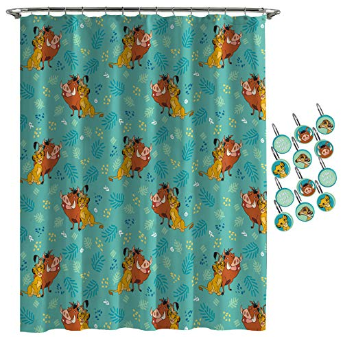 Jay Franco Disney Lion King Fun in The Sun Shower Curtain & 12-Piece Hook Set & Easy Use - Kids Bath Features Simba, Pumbaa, Timone - (Official Disney Product)