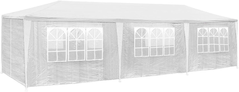 TecTake 800085 Pavillon Partyzelt Gartenzelt Eventpavillon 3x9m 9x3m + 8 Seitenteile - Diverse Farben - (Wei  Nr. 400934)