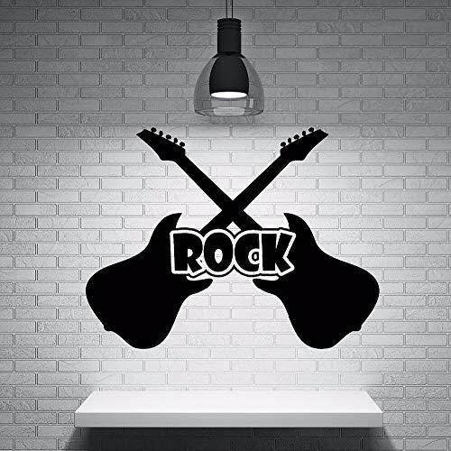 JXFM DIY Rock Guitarra eléctrica Etiqueta de la Pared Estudio de música Tienda decoración de la Ventana Rock Guitarra Vinilo Tatuajes de Pared Mural Musical Color o tamaño Personalizado