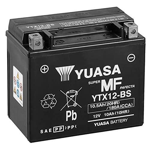 Batería para moto Yuasa YTX12-BS – Sin mantenimiento – 12 V 10 Ah – Dimensiones: 150 x 87 x 131 mm compatible con Aprilia Scarabeo Scooter 500 2009 – 2010