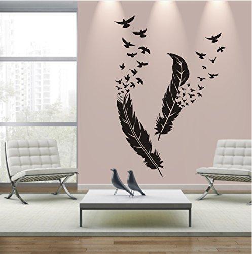 HomeTattoo ® WANDTATTOO Wandaufkleber 2 Federn Deko Vögel Style Design Wohnzimmer 598 XL ( L x B ) ca. 100 x 43 cm, 127 x 32 cm (braun 800)
