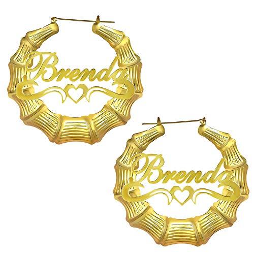 Nombre Personalizado Hip Hop Pendientes De Bambú Pendientes De Aro De Cobre Grabados Chapados En Oro De 18 Quilates Para Mujeres Día De La Madre Cumpleaños Aniversario Joyería Estilo-1