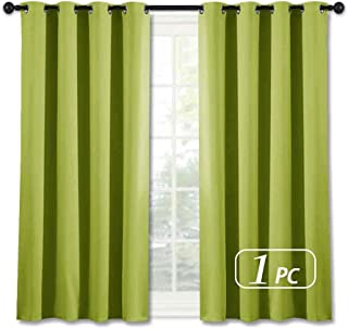 NICETOWN Green Blackout Curtain for Kitchen - Home Decor Thermal Insulated Solid Grommet Top Blackout Curtain/Panel/Drape for Kid's Room (1 Panel, 52 x 45 inches in Fresh Green)