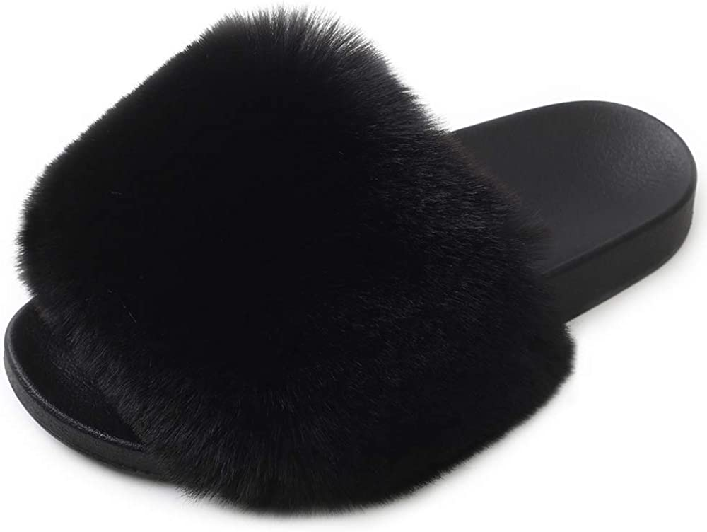 Womens Many popular brands Fur Slides Fluffy Slippers Shoes Toe Fuzzy Fla Open Minneapolis Mall with