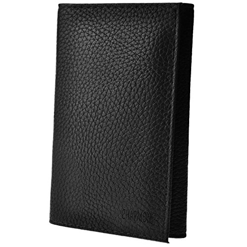 Charmoni - Etui Porte Papiers Voiture Permis de conduire Carte Grise (TU, noir (cuir))