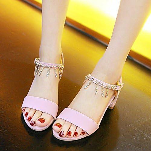 YMFIE Mesdames carré Talon Strass Orteil mi-Talon Sandales été Style tempérament Open Toe Sandales