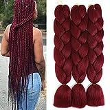 24 Inch Jumbo Braiding Hair Extension Ombre Synthetic Hair for Box Braiding Twist Colorful Braids Hair(3Pcs/Lot Burgundy)