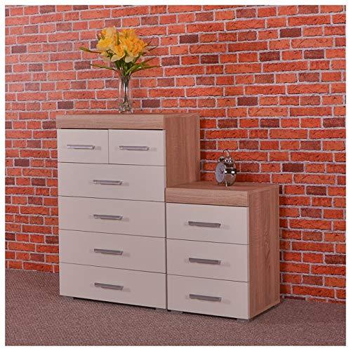 DRP Trading Biały & dąb Sonoma 4 + 2 szuflady komoda i 3 szuflady szafka nocna meble do sypialni 6 rysowania