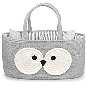 Diaper Caddy Organizer Baby – 100% Cotton Rope Canvas – Cute Owl Design for Changing Table, Portable Toy Storage, Nursery Decor for Boy and Girl