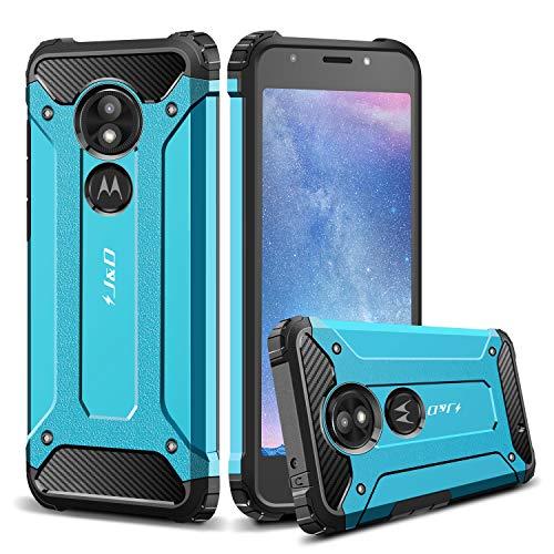 J&D Compatibile per Motorola Moto E5 Play Cover, Armatura Sottile Doppio Strato Ibrida Antiurta Protettiva Rigido Custodia per Moto E5 Play, Non per Moto E5/Moto E5 Plus, Blu