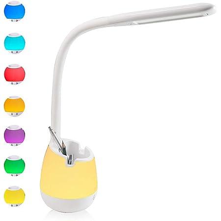 YOUKOYI Lampe de Bureau LED avec Veilleuse Lampe de Chevet Enfant Lampe de Table avec Porte Stylo Dimmable à 3 Niveaux de Luminosité et 3 Modes,Rechargeable,Contrôle Tactile