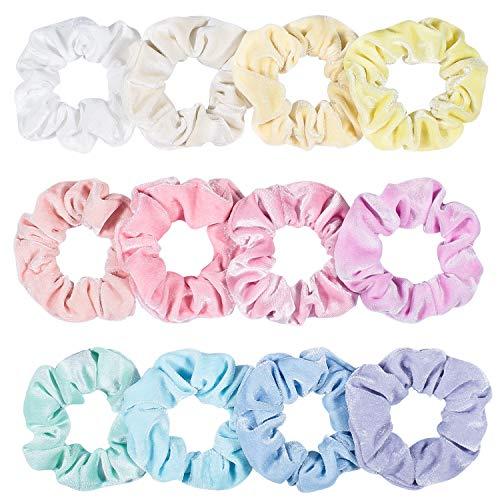 Whaline Macaron Serie Scrunchies Samt Set, Bunte Haarbänder Velvet Haargummis Elastisches Haar Gummiband für Frauen Mädchen Pferdeschwanz Haarschmuck (12 Stück)