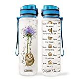 64HYDRO 32oz 1Liter Motivational Water Bottle with Time Marker, Dandelion Sloth Lover Let Your Dream be Your Wings HAL2306009 Water Bottle
