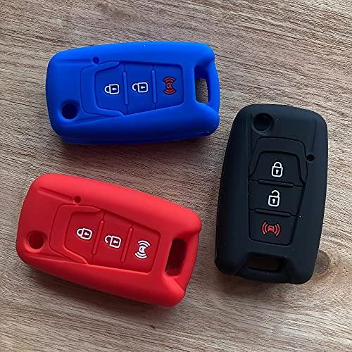 FBFGRemote Key Flip Shell para SsangYong Korando Actyon C200 3 Botones Funda Protectora de Silicona con Llave Plegable