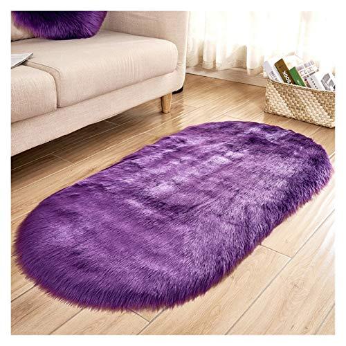 Viele Möglichkeiten der schönen ovalen Kunstpelz, Kunstschaffellen, waschbare Sitzkissen, Flauschige Teppiche, Flauschige Wolle, weich Wohnzimmer Teppiche (Farbe : Lila, Größe : 90x150cm)