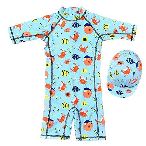 Niños Trajes de Baño Bebé Traje de Buceo Una Pieza Bañador Protección Solar UV Guardia de Erupción Ropa de Natación y Gorra de Natación