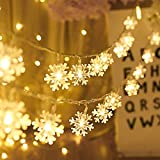Schneeflocke Lichterketten, 6M 40Pcs LED Batteriebetriebene Lichterketten, Shining Decoration Lightning für Valentinstag Weihnachten Hochzeit Geburtstag Party Schlafzimmer Indoor&Outdoor (Warm White) - 6