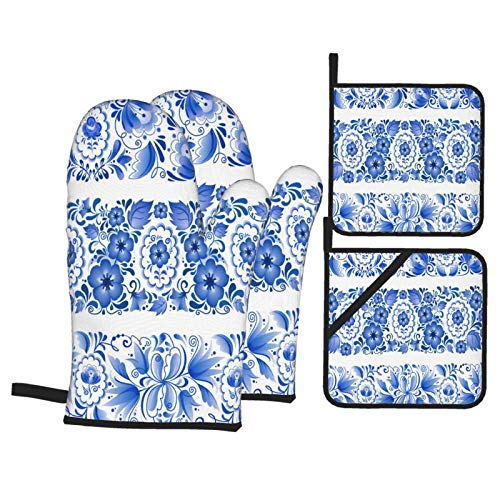 Heat Resistant Oven Mitts and Pot Holders 4 Pcs Sets Russian Traditional Blue Vector Ornamental Lines Kitchen Cooking Gloves for Microwave Baking Grilling BBQ
