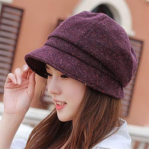 YXLMZ Sombrero de Mujer Gorro de Tela Oscuro para Damas otoño e...