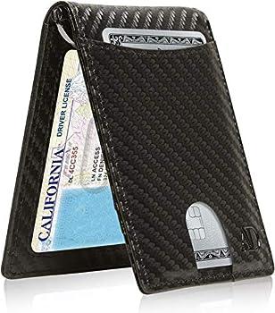 Slim Bifold Wallets For Men - Thin Minimalist Money Clip Wallet Mens Front Pocket Credit Card Holder RFID Blocking