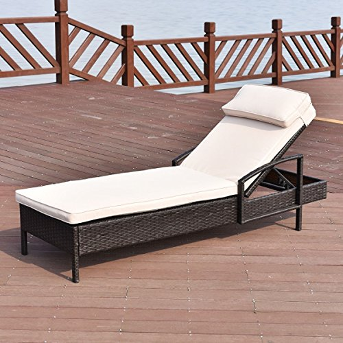 Premium Adjustable Lounge Chaise Long Chair Foldable Furniture for Outdoor Deck Garden Beach Patio or Poolside. Brown Color