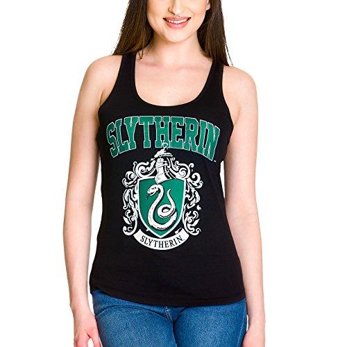 HARRY POTTER Camiseta sin Mangas Emblema de Slytherin de Elbenwald Negro - XL