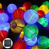 iMeshbean Solar Lichterkette Außen Lampions,30 LEDs Solarbetriebene Lichterkette Lampions Laterne...