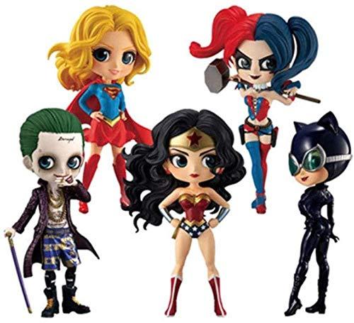 YDDM 5 Pezzi Q posket Wonder Woman Harley Quinn Joker Supereroe Action PVC Figure Figure Anime Bambole da Collezione Giocattoli per Bambini