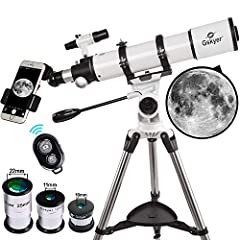 【High Quality Optics】600mm(f/6.7) focal length and 90mm aperture, fully coated optics glass lens with high transmission coatings creates stunning images and protect your eyes 【High Magnification】Come with three replaceable eyepieces(24X, 60X,120X) an...