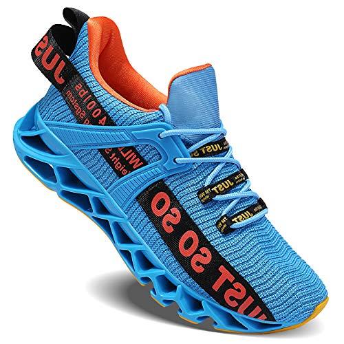 Wonesion Herren Schuhe Laufschuhe Herren Damen Sportschuhe Straßenlaufschuhe Sneaker Joggingschuhe Turnschuhe Walkingschuhe Traillauf Fitness Schuhe, 5-Blau&Orange, 46 EU