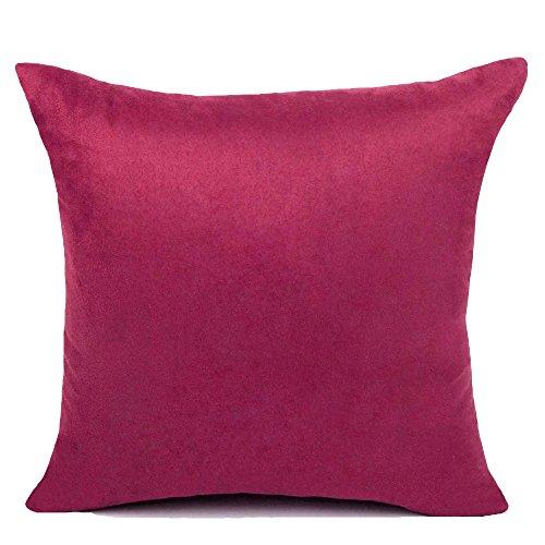 KAMIXIN - Fundas de cojín o almohada cuadradas de ante para el hogar, de colores lisos, para sofá, cama o asiento de coche, tela, granate, 60x60cm=24'x24'