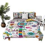 Dragon Vines - Juego de cama de 4 piezas, sábana bajera ajustable, caricatura de la naturaleza con pájaros de aspecto divertido y un árbol abstracto para jardinería de color multicolor, 68 x 90 cm