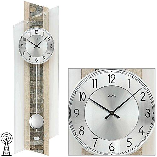 AMS Funk Pendeluhr, Holz, Mehrfarbig, 108 x 40 x 22 cm