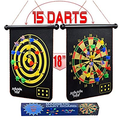 """NOMNOM TOYS, Magnetic Dart Board for Kids, 15 pcs Magnetic Darts, 18"""" Double Sided Board Game Set, Safe Indoor Outdoor Family Game, Best Toy Gift for 5 6 7 8 9 10 11 12 13 14 Years Old Boys"""