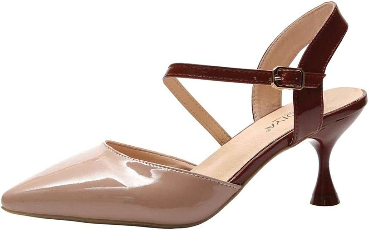 Lady shoes Fashion Women Pointed Toe Buckle Comfortable Leisure High Heel Sandals Leisure Elegant Soft Wild Tight Super Quality for Womens