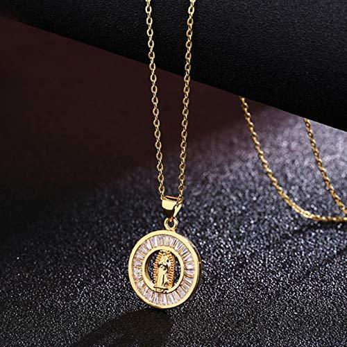 CXWK Collana con Ciondolo in Acciaio Inossidabile Vergine Maria Collana con Cristallo in Oro per Uomo Donna Ciondolo Moda Gioielli cattolici