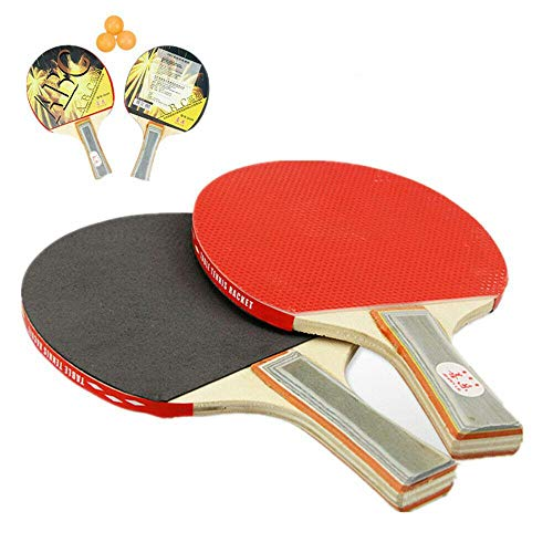 Check Out This Jonassk Woolffk 2-Player Table Tennis Set, 2 Long Handle Ping Pong Rackets Paddles Bats, 3 Balls
