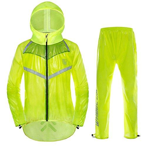 Chaqueta de Ciclismo Unisex Impermeable con Capucha y Pantalones Correas Reflectantes Chaqueta de Lluvia para Deportes al Aire Libre(XXXL-Verde Fluorescente)