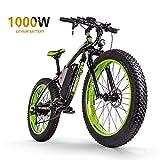 Sea blog Fettreifen Elektrofahrrad Mountainbike 26' E-Bike mit 48V 16Ah/1000W Lithium-Batterie und Shimano 21-Gang Vollfederung hydraulische Scheibenbremse Elektrisches Fahrrad,Black+Green