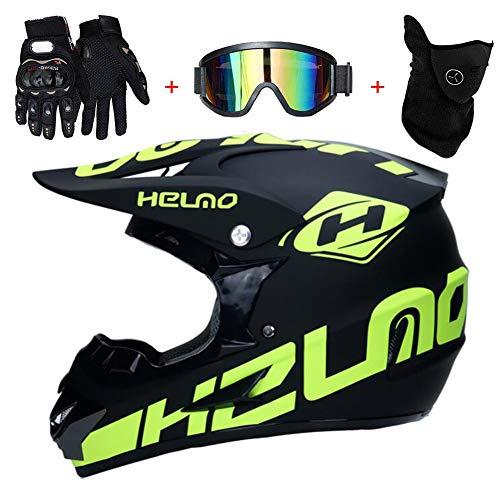 TKUI Motocross Helm Integralhelm Sonnenschutzhelm, Adult Off Road Helm mit Handschuhe Maske Brille, Unisex Motorradhelm Cross Helme Schutzhelm ATV Helm für Männer Damen Sicherheit Schutz,L(56~57cm)